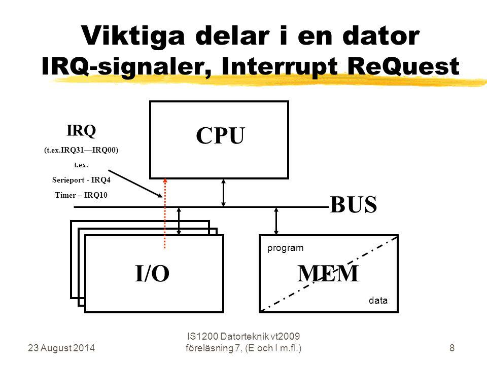 23 August 2014 IS1200 Datorteknik vt2009 föreläsning 7, (E och I m.fl.)8 Viktiga delar i en dator IRQ-signaler, Interrupt ReQuest CPU MEM BUS I/O program data IRQ (t.ex.IRQ31—IRQ00) t.ex.