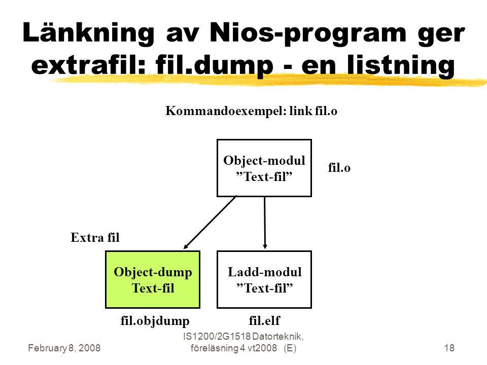 February 8, 2008 IS1200/2G1518 Datorteknik, föreläsning 4 vt2008 (E)18 Länkning av Nios-program ger extrafil: fil.dump - en listning Object-modul Text-fil Ladd-modul Text-fil fil.o fil.elf Kommandoexempel: link fil.o Object-dump Text-fil Extra fil fil.objdump