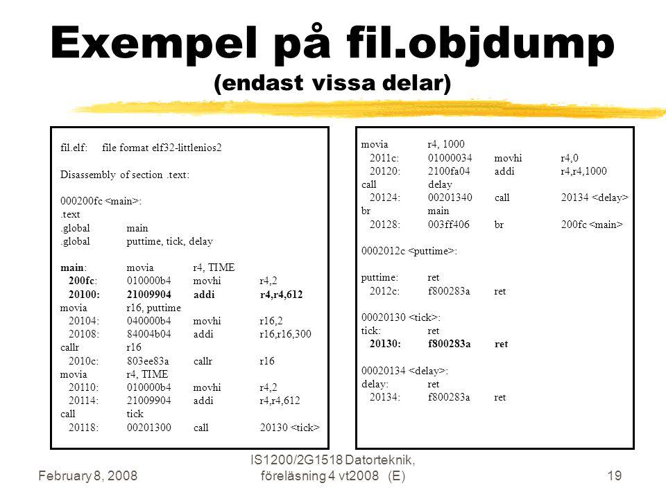 February 8, 2008 IS1200/2G1518 Datorteknik, föreläsning 4 vt2008 (E)19 Exempel på fil.objdump (endast vissa delar) fil.elf: file format elf32-littlenios2 Disassembly of section.text: 000200fc :.text.globalmain.globalputtime, tick, delay main:moviar4, TIME 200fc:010000b4 movhir4,2 20100:21009904 addir4,r4,612 moviar16, puttime 20104:040000b4 movhir16,2 20108:84004b04 addir16,r16,300 callrr16 2010c:803ee83a callrr16 moviar4, TIME 20110:010000b4 movhir4,2 20114:21009904 addir4,r4,612 calltick 20118:00201300 call20130 moviar4, 1000 2011c:01000034 movhir4,0 20120:2100fa04 addir4,r4,1000 calldelay 20124:00201340 call20134 brmain 20128:003ff406 br200fc 0002012c : puttime:ret 2012c:f800283a ret 00020130 : tick:ret 20130:f800283a ret 00020134 : delay:ret 20134:f800283a ret
