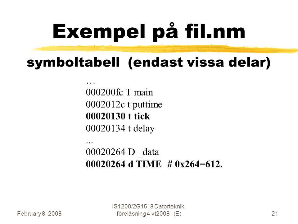February 8, 2008 IS1200/2G1518 Datorteknik, föreläsning 4 vt2008 (E)21 Exempel på fil.nm symboltabell (endast vissa delar) … 000200fc T main 0002012c t puttime 00020130 t tick 00020134 t delay...