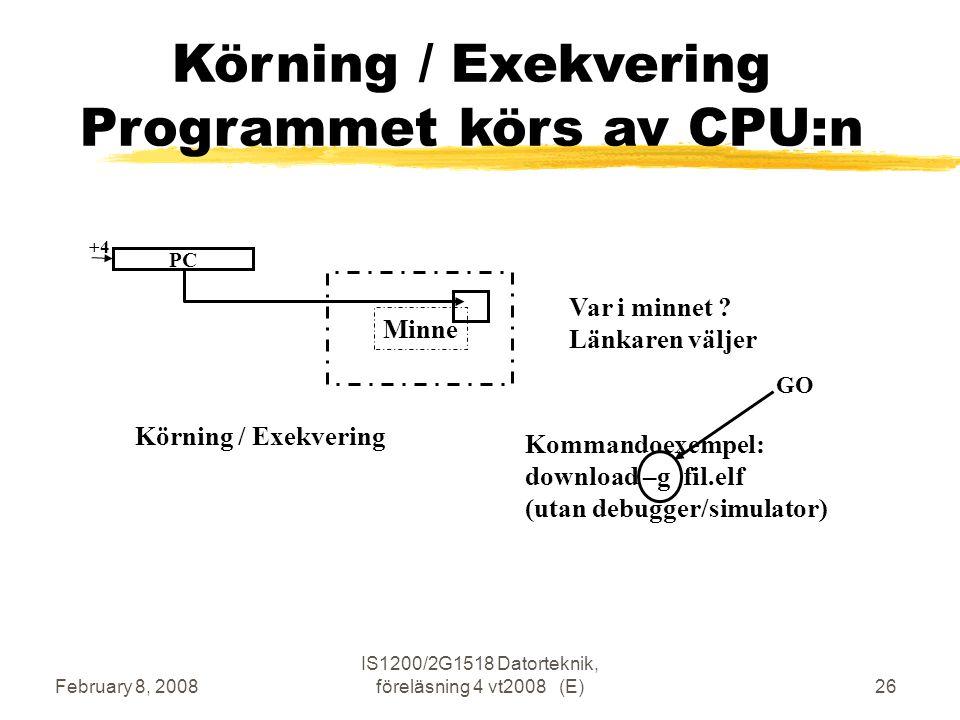 February 8, 2008 IS1200/2G1518 Datorteknik, föreläsning 4 vt2008 (E)26 Minne Körning / Exekvering Programmet körs av CPU:n Körning / Exekvering Var i minnet .