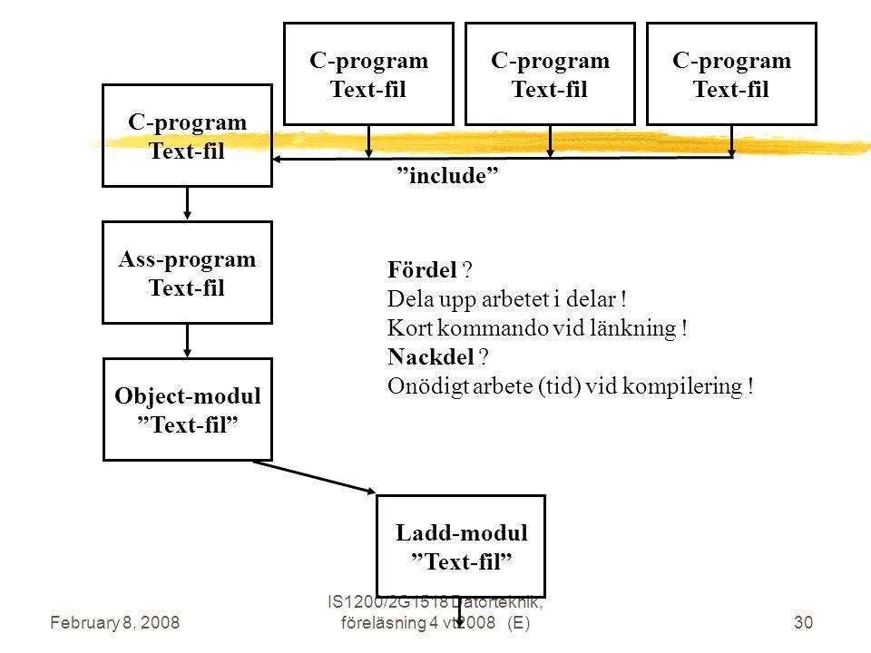 February 8, 2008 IS1200/2G1518 Datorteknik, föreläsning 4 vt2008 (E)30 C-program Text-fil Ass-program Text-fil Object-modul Text-fil C-program Text-fil Ladd-modul Text-fil C-program Text-fil C-program Text-fil include Fördel .
