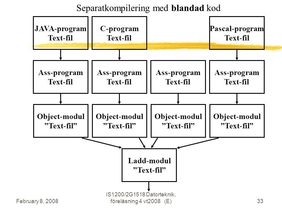 February 8, 2008 IS1200/2G1518 Datorteknik, föreläsning 4 vt2008 (E)33 JAVA-program Text-fil Ass-program Text-fil Object-modul Text-fil C-program Text-fil Ass-program Text-fil Object-modul Text-fil Ladd-modul Text-fil Ass-program Text-fil Object-modul Text-fil Pascal-program Text-fil Ass-program Text-fil Object-modul Text-fil Separatkompilering med blandad kod