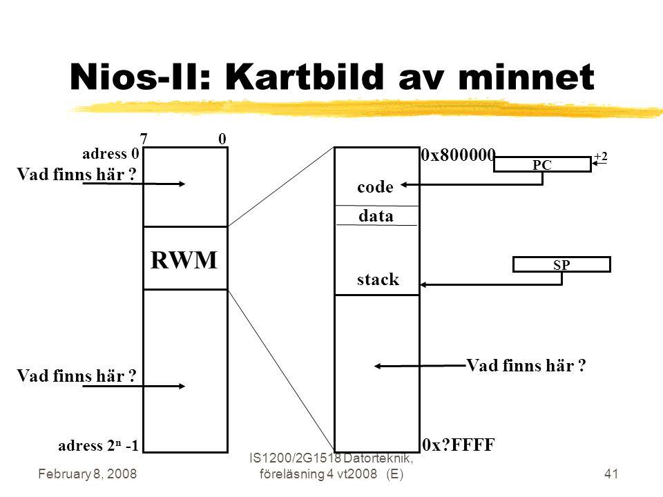 February 8, 2008 IS1200/2G1518 Datorteknik, föreläsning 4 vt2008 (E)41 Nios-II: Kartbild av minnet adress 0 adress 2 n -1 7 0 RWM data code stack 0x800000 0x?FFFF PC +2 SP Vad finns här ?