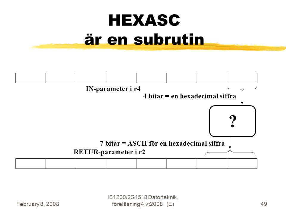 February 8, 2008 IS1200/2G1518 Datorteknik, föreläsning 4 vt2008 (E)49 HEXASC är en subrutin .