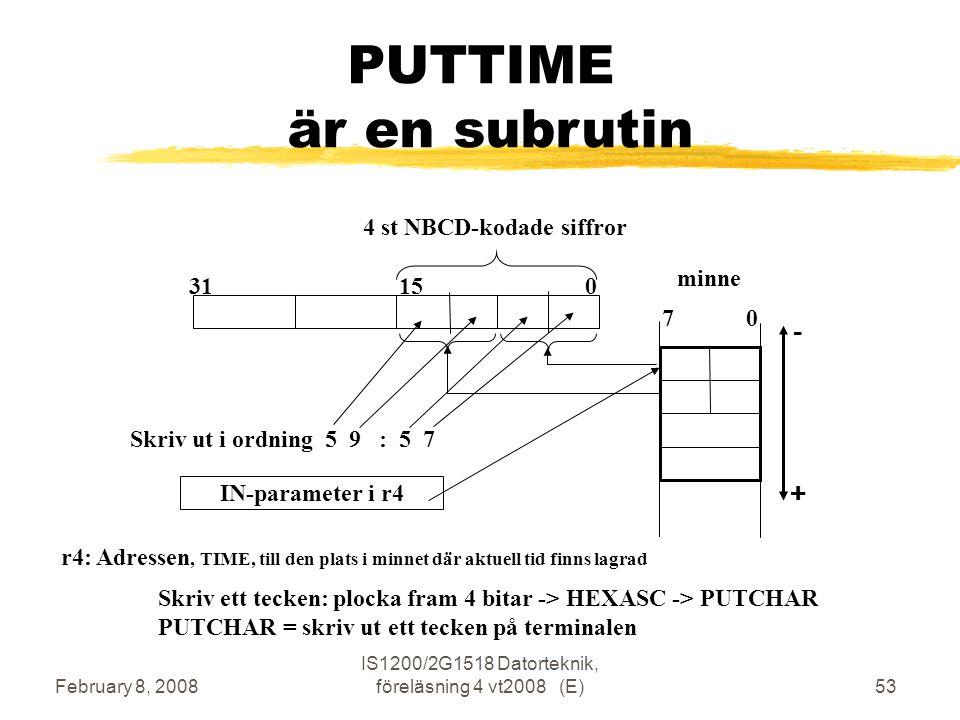 February 8, 2008 IS1200/2G1518 Datorteknik, föreläsning 4 vt2008 (E)53 PUTTIME är en subrutin 4 st NBCD-kodade siffror IN-parameter i r4 minne 7 0 Skriv ut i ordning 5 9 : 5 7 Skriv ett tecken: plocka fram 4 bitar -> HEXASC -> PUTCHAR PUTCHAR = skriv ut ett tecken på terminalen 31 15 0 r4: Adressen, TIME, till den plats i minnet där aktuell tid finns lagrad -+-+