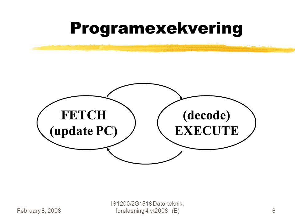 February 8, 2008 IS1200/2G1518 Datorteknik, föreläsning 4 vt2008 (E)6 Programexekvering FETCH (update PC) (decode) EXECUTE