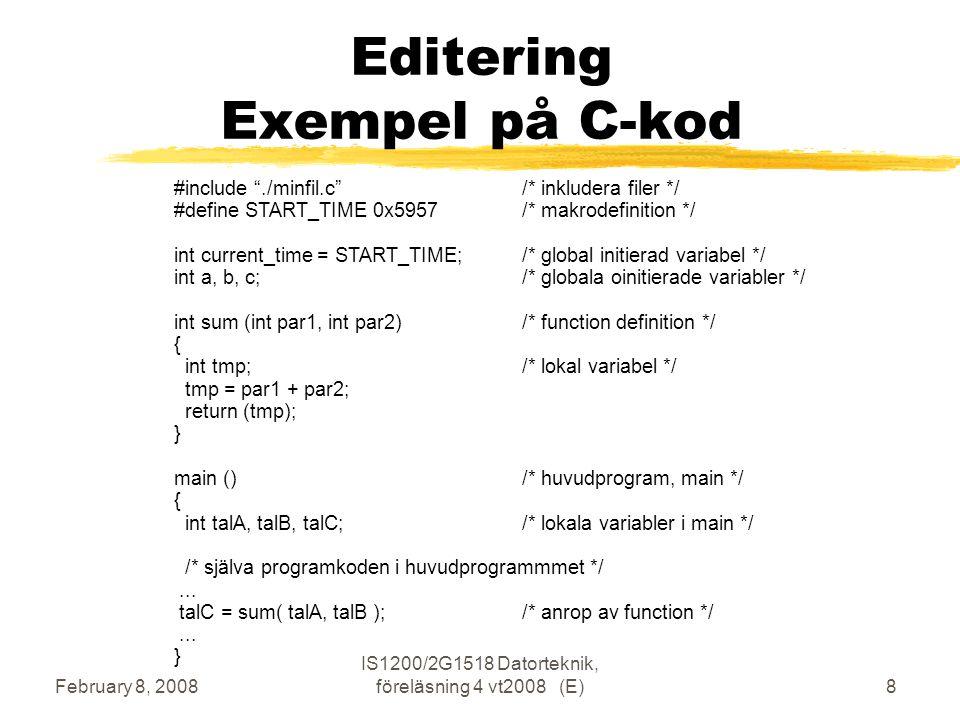 February 8, 2008 IS1200/2G1518 Datorteknik, föreläsning 4 vt2008 (E)9 Laboration 1, nios2time Utskrift av tid varje sekund 59:57 59:58 59:59 00:00 00:01.