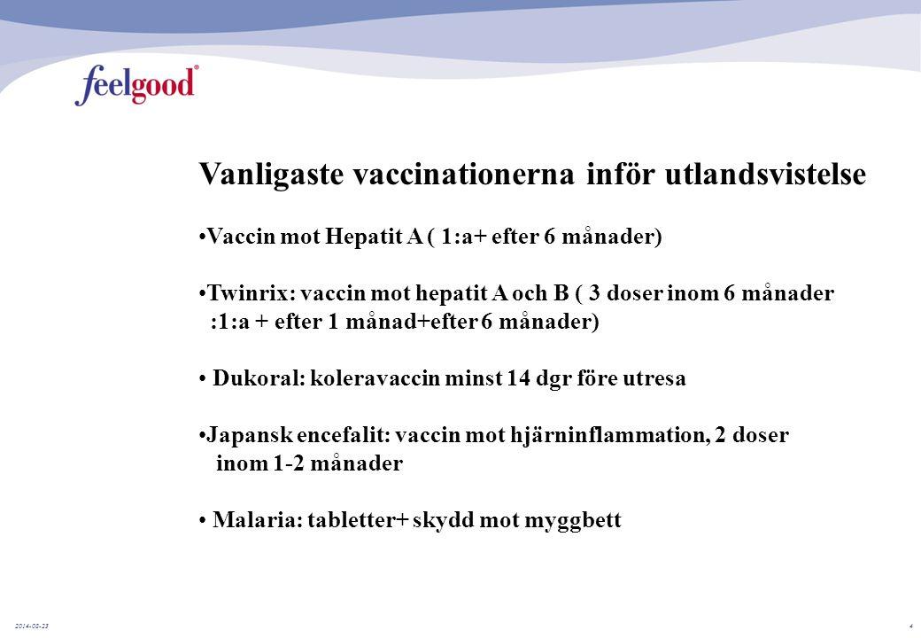 2014-08-234 Vanligaste vaccinationerna inför utlandsvistelse Vaccin mot Hepatit A ( 1:a+ efter 6 månader) Twinrix: vaccin mot hepatit A och B ( 3 doser inom 6 månader :1:a + efter 1 månad+efter 6 månader) Dukoral: koleravaccin minst 14 dgr före utresa Japansk encefalit: vaccin mot hjärninflammation, 2 doser inom 1-2 månader Malaria: tabletter+ skydd mot myggbett