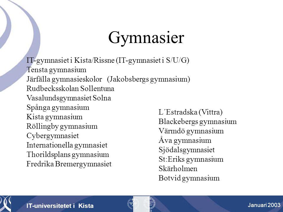Gymnasier IT-universitetet i Kista Januari 2003 IT-gymnasiet i Kista/Rissne (IT-gymnasiet i S/U/G) Tensta gymnasium Järfälla gymnasieskolor (Jakobsber