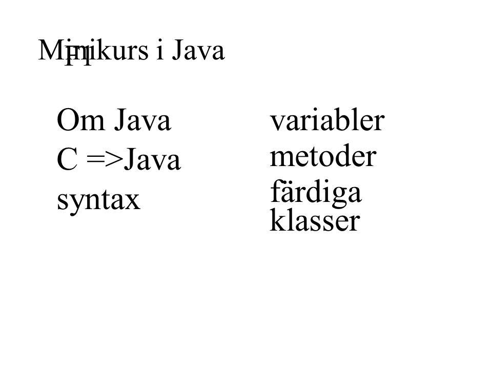 Minikurs i Java F1 Om Java C =>Java syntax variabler metoder färdiga klasser
