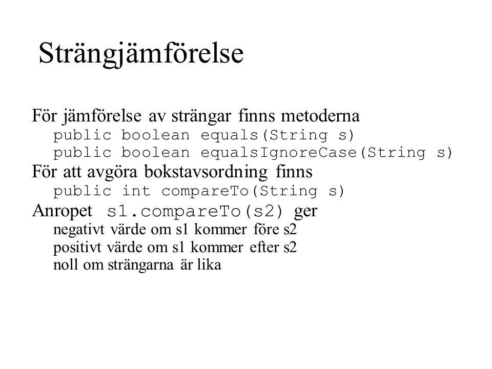 Strängjämförelse För jämförelse av strängar finns metoderna public boolean equals(String s) public boolean equalsIgnoreCase(String s) För att avgöra bokstavsordning finns public int compareTo(String s) Anropet s1.compareTo(s2) ger negativt värde om s1 kommer före s2 positivt värde om s1 kommer efter s2 noll om strängarna är lika