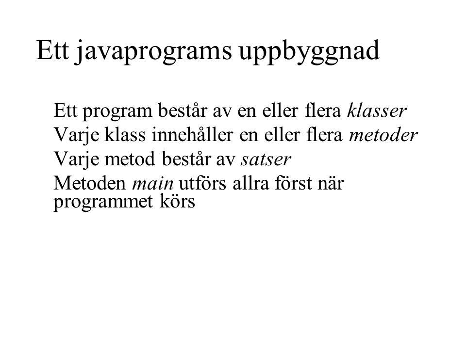 Ett javaprograms uppbyggnad Ett program består av en eller flera klasser Varje klass innehåller en eller flera metoder Varje metod består av satser Metoden main utförs allra först när programmet körs