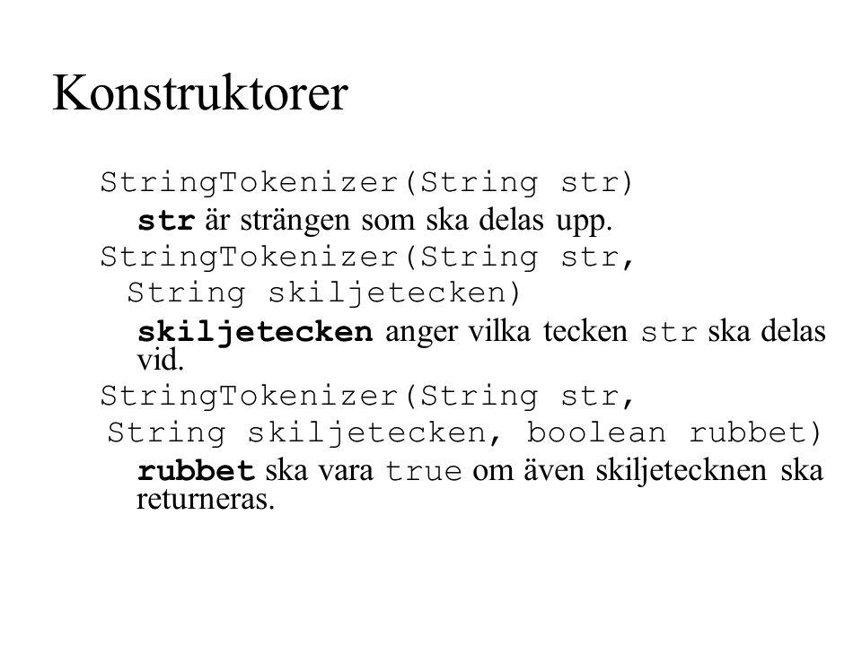 Konstruktorer StringTokenizer(String str) str är strängen som ska delas upp.