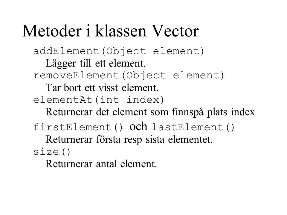 Metoder i klassen Vector addElement(Object element) Lägger till ett element.