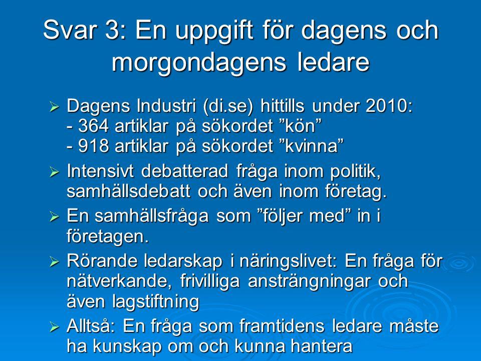 """Svar 3: En uppgift för dagens och morgondagens ledare  Dagens Industri (di.se) hittills under 2010: - 364 artiklar på sökordet """"kön"""" - 918 artiklar p"""