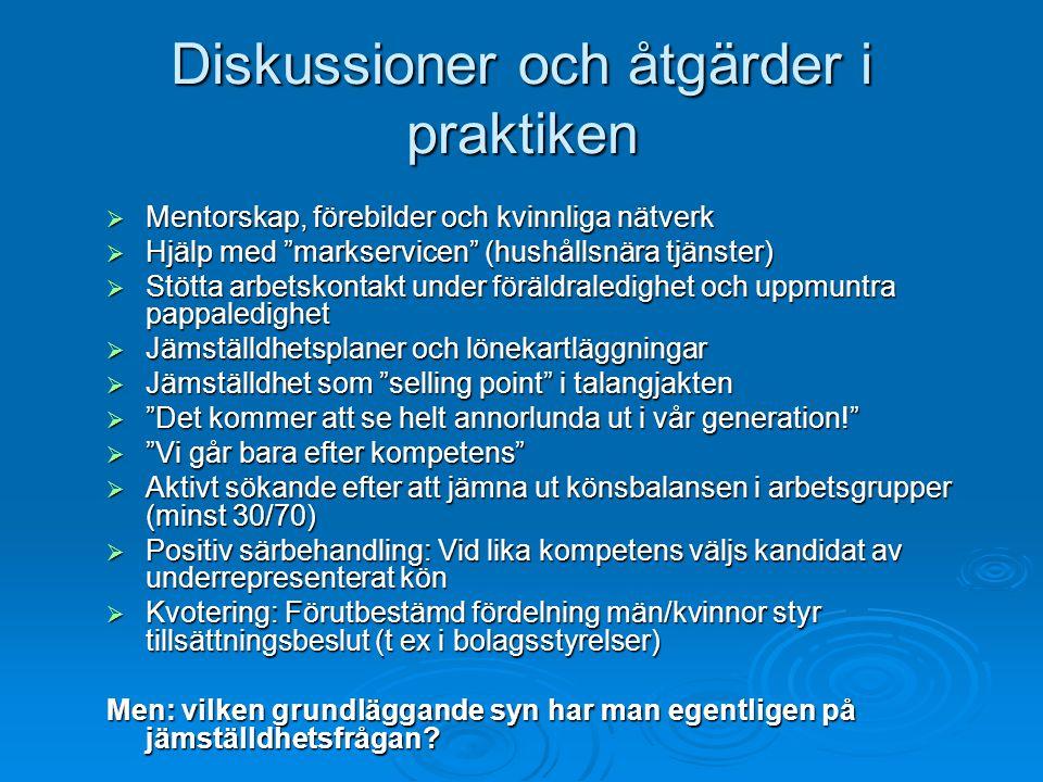 """Diskussioner och åtgärder i praktiken  Mentorskap, förebilder och kvinnliga nätverk  Hjälp med """"markservicen"""" (hushållsnära tjänster)  Stötta arbet"""