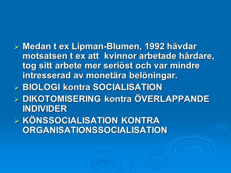 Medan t ex Lipman-Blumen, 1992 hävdar motsatsen t ex att kvinnor arbetade hårdare, tog sitt arbete mer seriöst och var mindre intresserad av monetär
