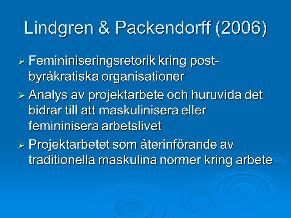 Lindgren & Packendorff (2006)  Femininiseringsretorik kring post- byråkratiska organisationer  Analys av projektarbete och huruvida det bidrar till