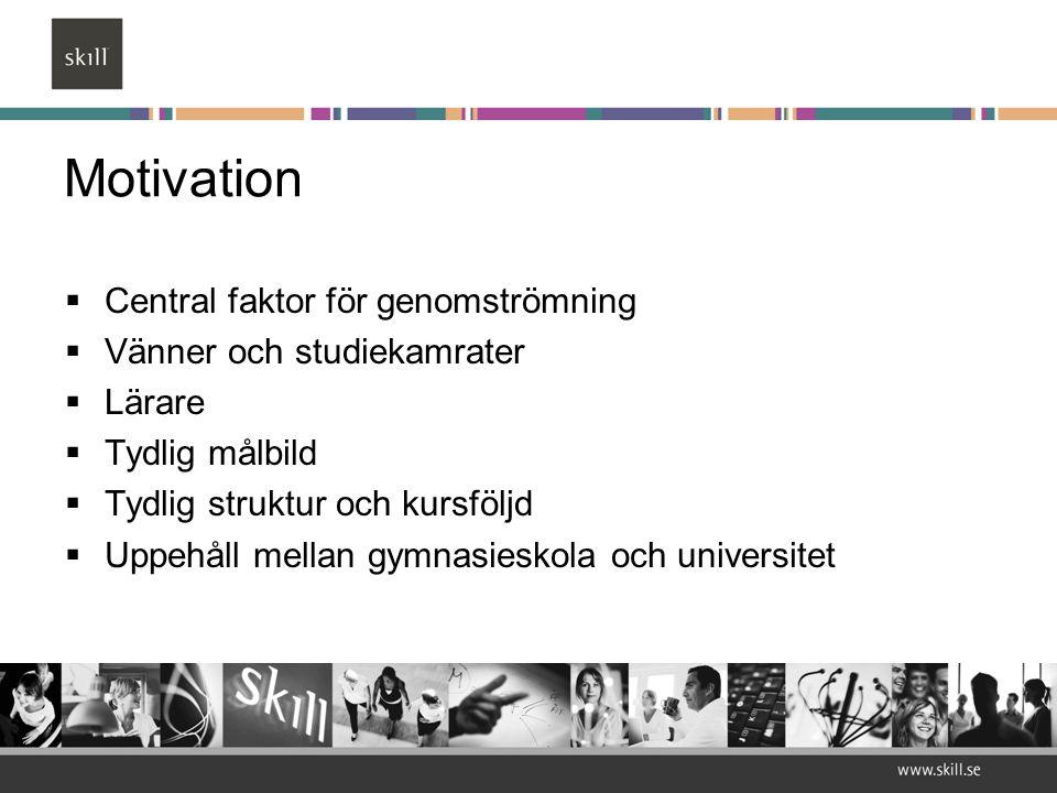 Motivation  Central faktor för genomströmning  Vänner och studiekamrater  Lärare  Tydlig målbild  Tydlig struktur och kursföljd  Uppehåll mellan gymnasieskola och universitet