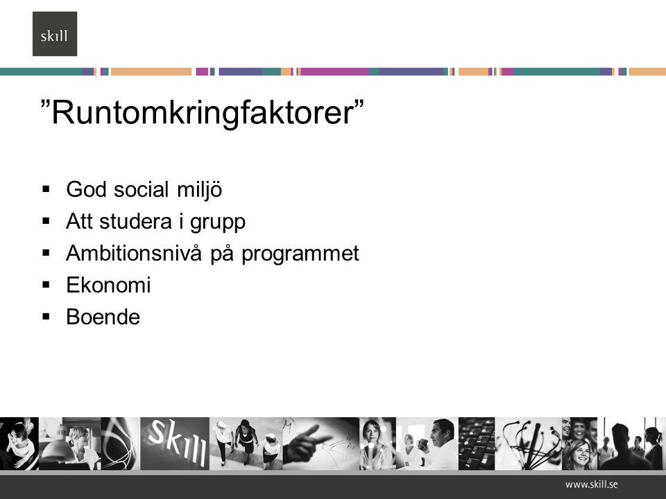 """""""Runtomkringfaktorer""""  God social miljö  Att studera i grupp  Ambitionsnivå på programmet  Ekonomi  Boende"""