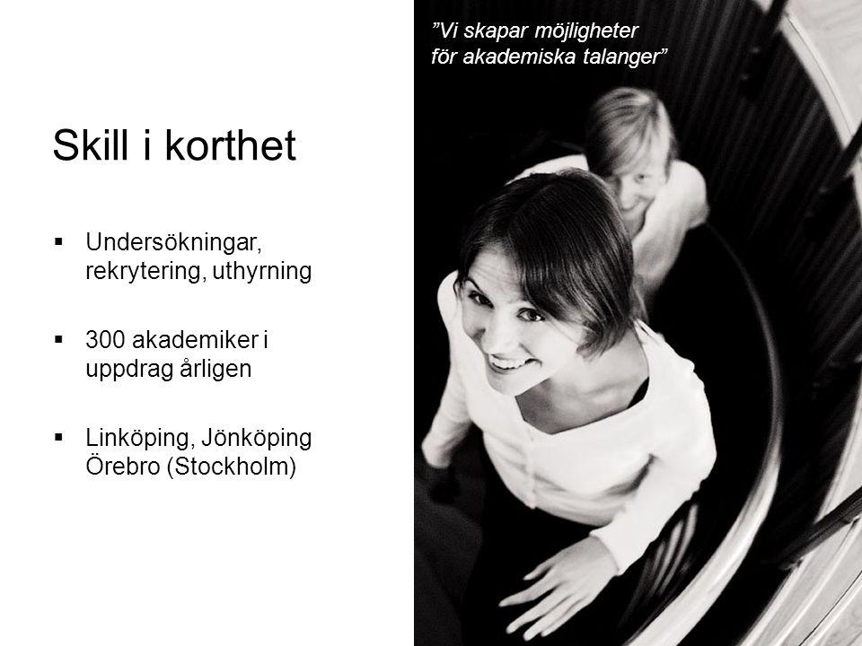 Skill i korthet  Undersökningar, rekrytering, uthyrning  300 akademiker i uppdrag årligen  Linköping, Jönköping Örebro (Stockholm) Vi skapar möjligheter för akademiska talanger