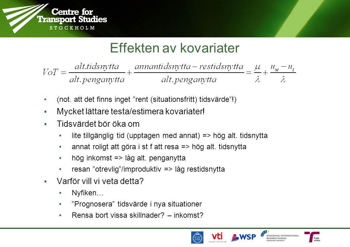"""Effekten av kovariater (not. att det finns inget """"rent (situationsfritt) tidsvärde""""!) Mycket lättare testa/estimera kovariater! Tidsvärdet bör öka om"""