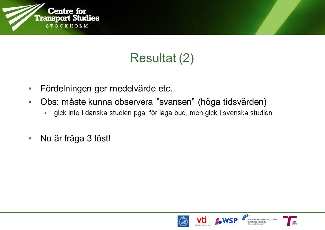 """Resultat (2) Fördelningen ger medelvärde etc. Obs: måste kunna observera """"svansen"""" (höga tidsvärden) gick inte i danska studien pga. för låga bud, men"""