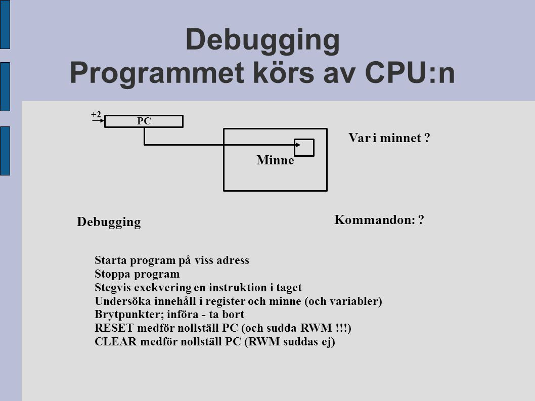 Minne Debugging Programmet körs av CPU:n Debugging Var i minnet ? Kommandon: ? PC +2 Starta program på viss adress Stoppa program Stegvis exekvering e