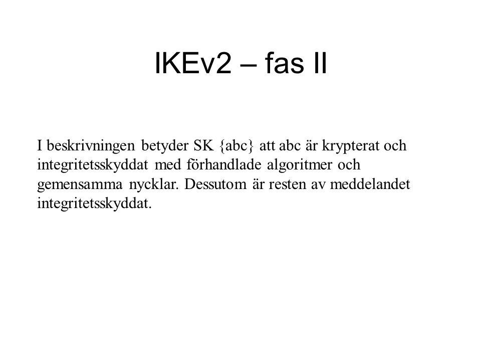 I beskrivningen betyder SK {abc} att abc är krypterat och integritetsskyddat med förhandlade algoritmer och gemensamma nycklar.