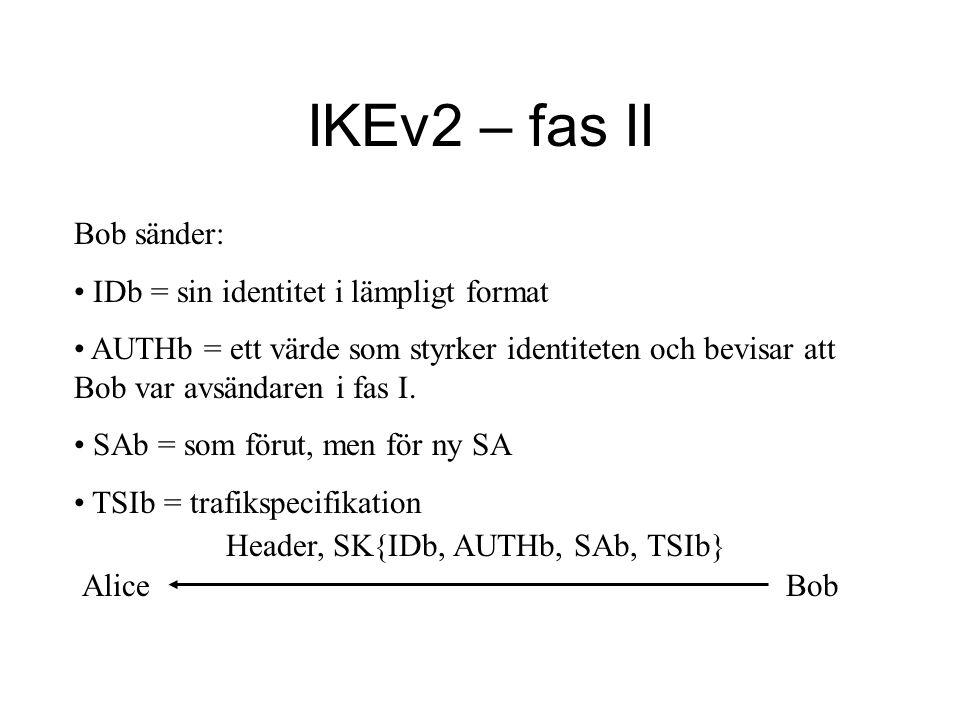 AliceBob IKEv2 – fas II Bob sänder: IDb = sin identitet i lämpligt format AUTHb = ett värde som styrker identiteten och bevisar att Bob var avsändaren i fas I.