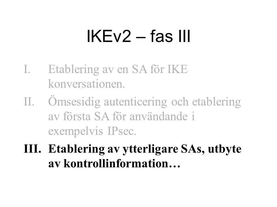 IKEv2 – fas III I.Etablering av en SA för IKE konversationen.