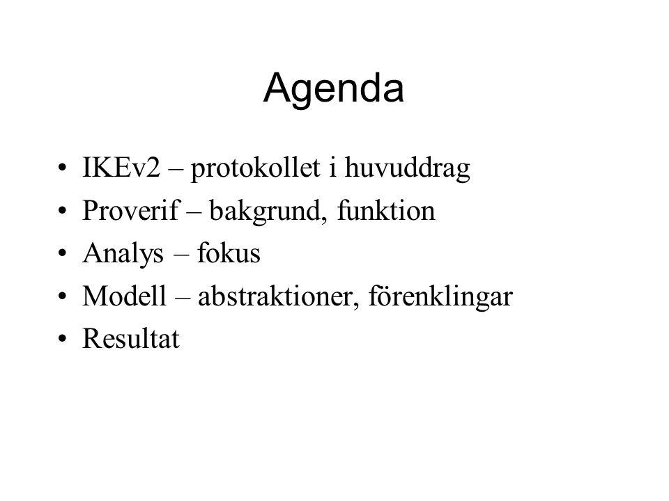 Agenda IKEv2 – protokollet i huvuddrag Proverif – bakgrund, funktion Analys – fokus Modell – abstraktioner, förenklingar Resultat
