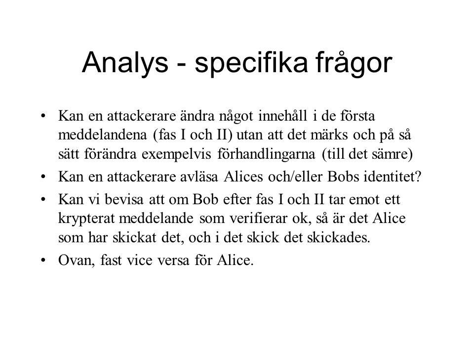 Analys - specifika frågor Kan en attackerare ändra något innehåll i de första meddelandena (fas I och II) utan att det märks och på så sätt förändra exempelvis förhandlingarna (till det sämre) Kan en attackerare avläsa Alices och/eller Bobs identitet.