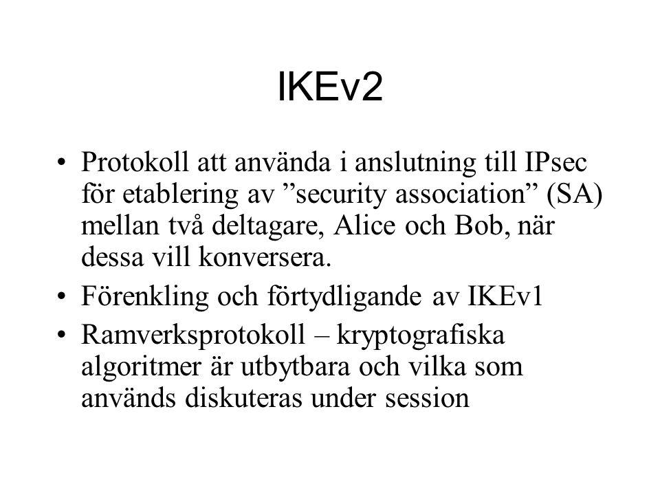 IKEv2 Protokoll att använda i anslutning till IPsec för etablering av security association (SA) mellan två deltagare, Alice och Bob, när dessa vill konversera.
