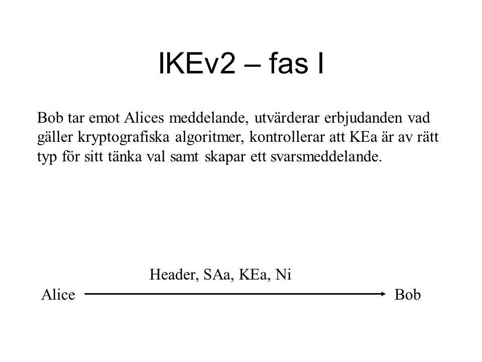 IKEv2 – fas I Bob tar emot Alices meddelande, utvärderar erbjudanden vad gäller kryptografiska algoritmer, kontrollerar att KEa är av rätt typ för sitt tänka val samt skapar ett svarsmeddelande.