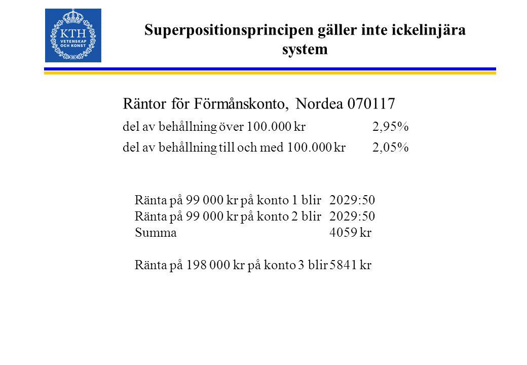 Superpositionsprincipen gäller inte ickelinjära system Räntor för Förmånskonto, Nordea 070117 del av behållning över 100.000 kr2,95% del av behållning