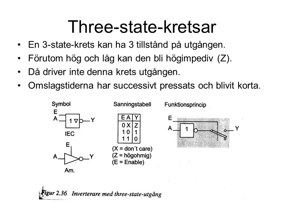 Three-state-kretsar En 3-state-krets kan ha 3 tillstånd på utgången.