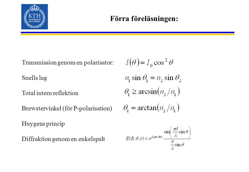Förra föreläsningen: Transmission genom en polarisator: Snells lag Total intern reflektion Brewstervinkel (för P-polarisation) Huygens princip Diffraktion genom en enkelspalt
