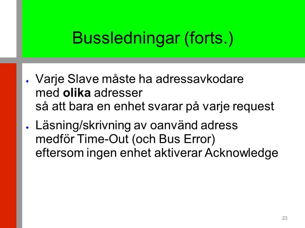 23 Bussledningar (forts.) ● Varje Slave måste ha adressavkodare med olika adresser så att bara en enhet svarar på varje request ● Läsning/skrivning av oanvänd adress medför Time-Out (och Bus Error) eftersom ingen enhet aktiverar Acknowledge