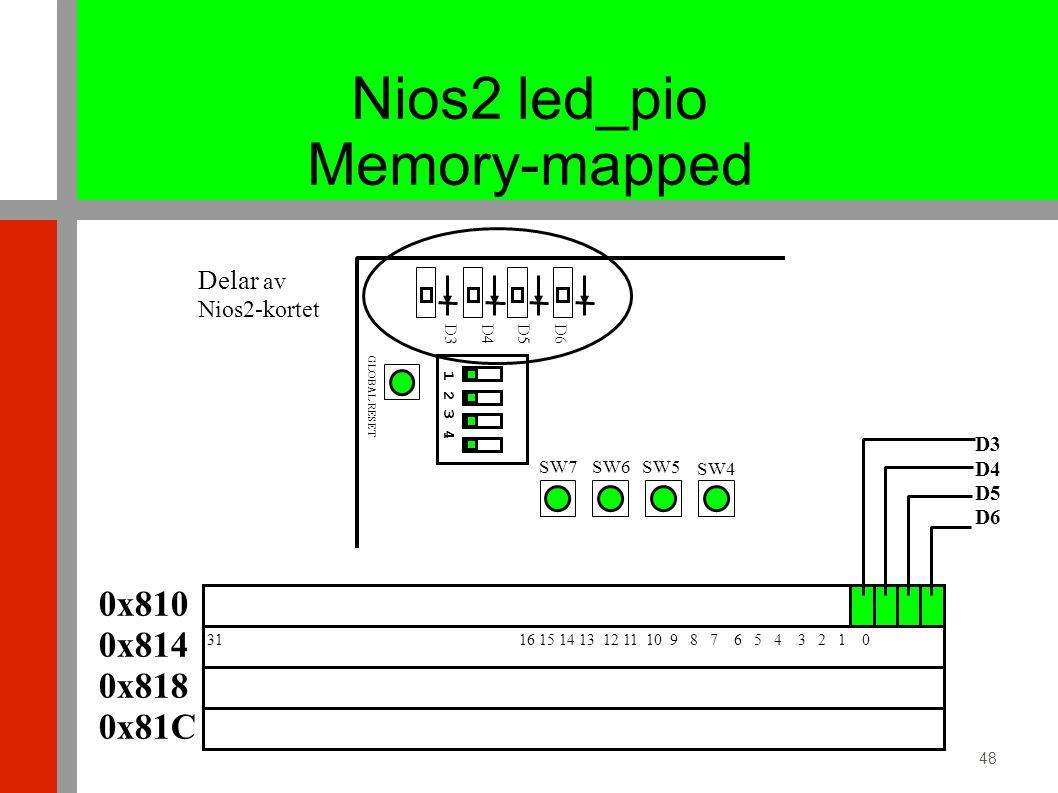 48 0x810 0x814 0x818 0x81C 31 16 15 14 13 12 11 10 9 8 7 6 5 4 3 2 1 0 D3 D4 D5 D6 SW5 SW4 SW6SW7 1 2 3 4 GLOBAL RESET Delar av Nios2-kortet D6 D5 D4 D3 Nios2 led_pio Memory-mapped