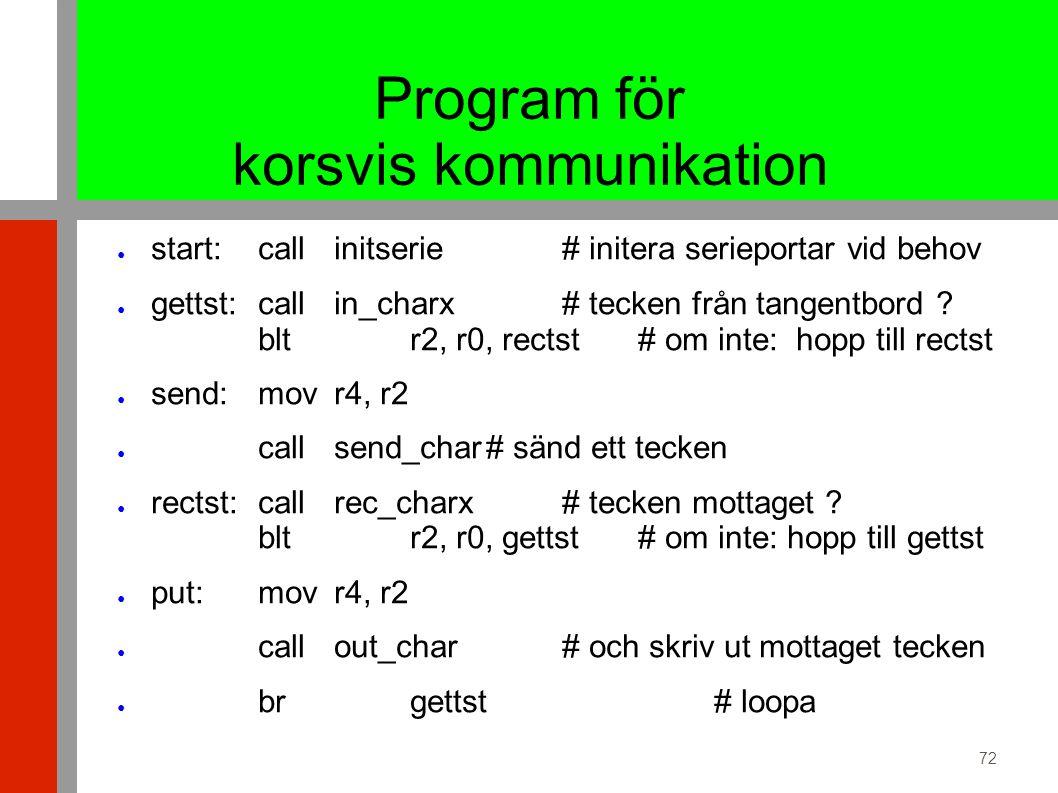 72 Program för korsvis kommunikation ● start:callinitserie# initera serieportar vid behov ● gettst:callin_charx# tecken från tangentbord .