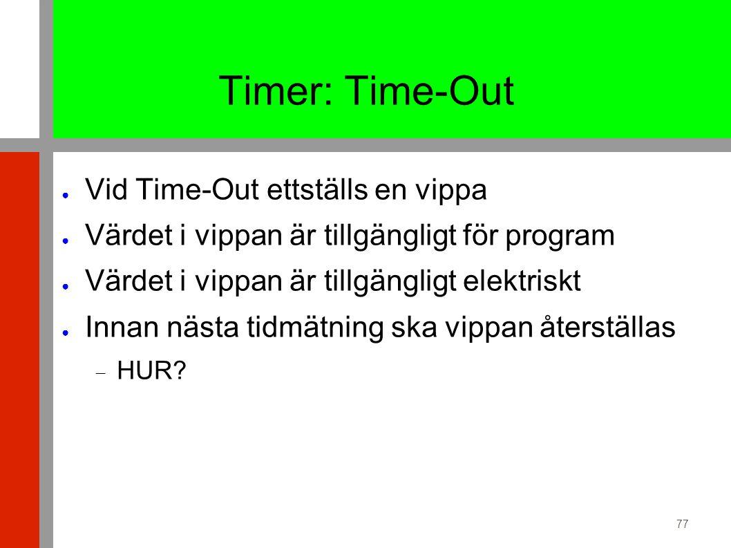 77 Timer: Time-Out ● Vid Time-Out ettställs en vippa ● Värdet i vippan är tillgängligt för program ● Värdet i vippan är tillgängligt elektriskt ● Innan nästa tidmätning ska vippan återställas  HUR