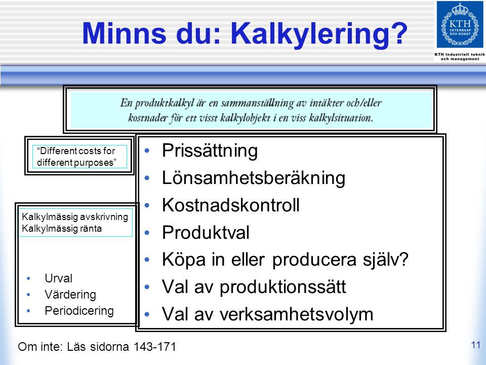 11 Minns du: Kalkylering? Om inte: Läs sidorna 143-171 Prissättning Lönsamhetsberäkning Kostnadskontroll Produktval Köpa in eller producera själv? Val