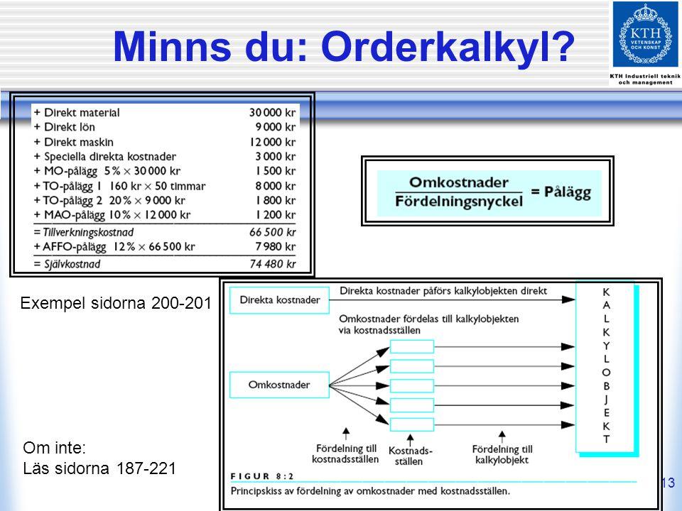 13 Minns du: Orderkalkyl? Om inte: Läs sidorna 187-221 Exempel sidorna 200-201
