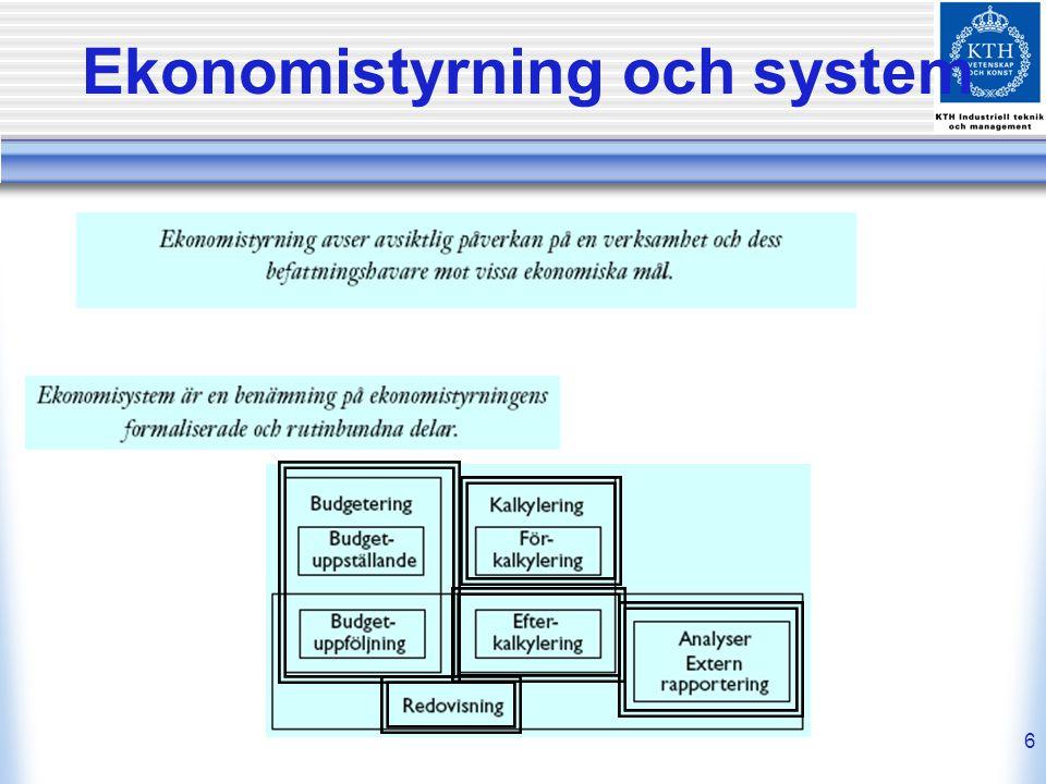6 Ekonomistyrning och system
