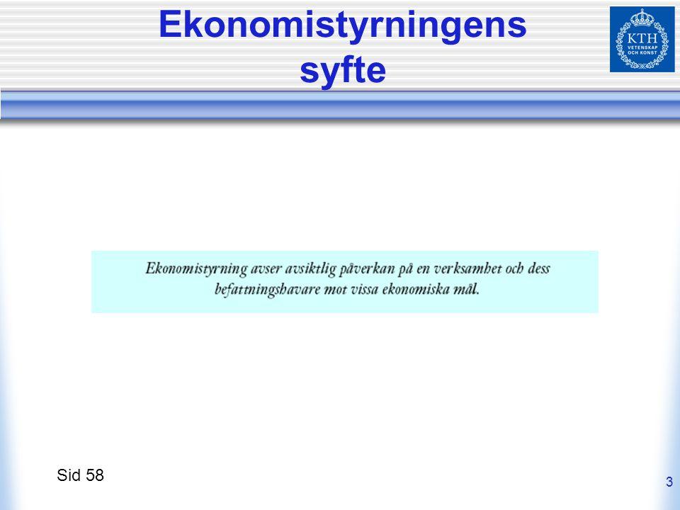 3 Ekonomistyrningens syfte Sid 58