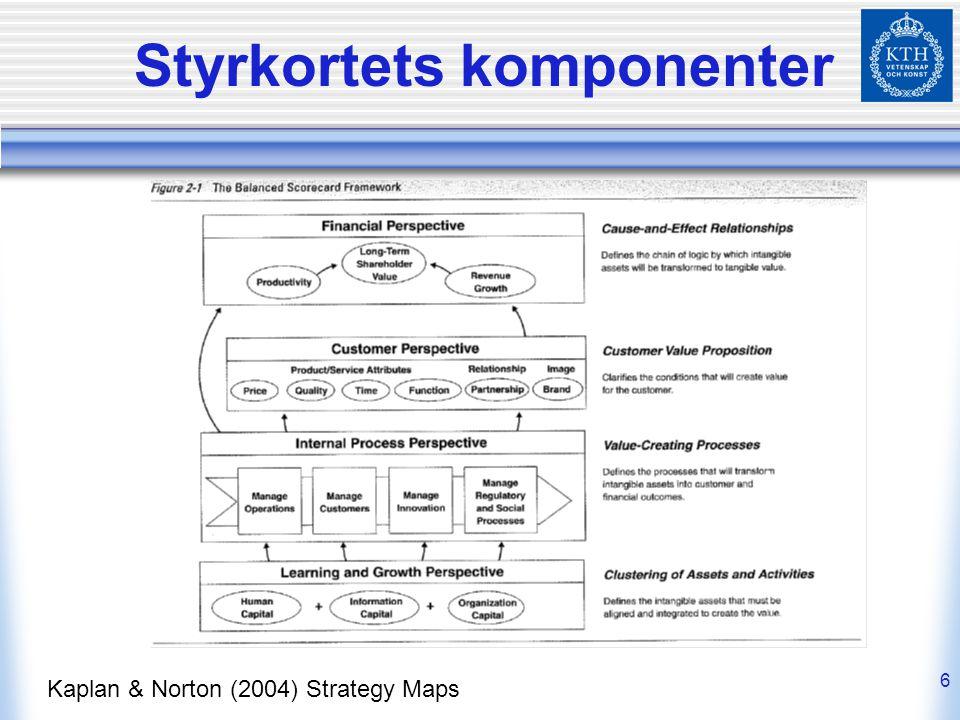 6 Styrkortets komponenter Kaplan & Norton (2004) Strategy Maps