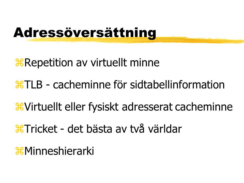 Repetition av virtuellt minne process 1 - virtuell adressrymd 1 process 2 - virtuell adressrymd 2 sidtabell 1sidtabell 2 fysiskt minne skivminne
