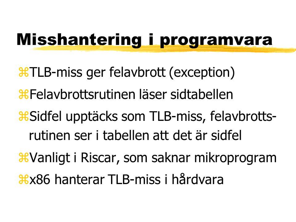 Misshantering i programvara zTLB-miss ger felavbrott (exception) zFelavbrottsrutinen läser sidtabellen zSidfel upptäcks som TLB-miss, felavbrotts- rutinen ser i tabellen att det är sidfel zVanligt i Riscar, som saknar mikroprogram zx86 hanterar TLB-miss i hårdvara